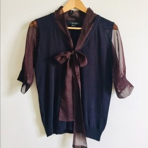 Mango blouse with decorative tie front.